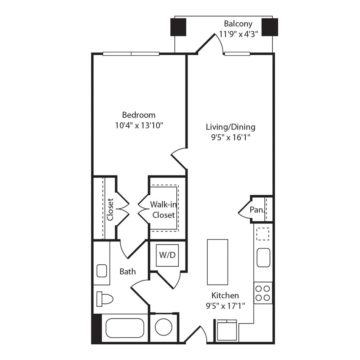 Rendering of the A1 floor plan layout