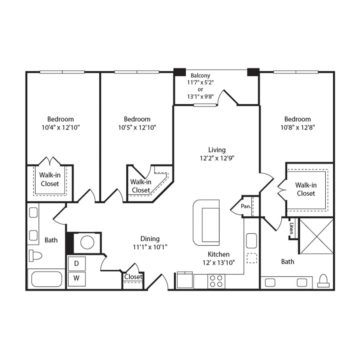 Apartment 432 floor plan